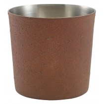 Genware Stainless Steel Serving Cup Rust Effect 8.5x8.5cm