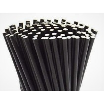 "Berties Paper Straw 8"" Black"