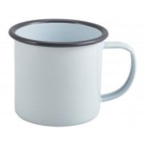 Berties Enamel Mug White with Grey Rim 36cl-12.5oz