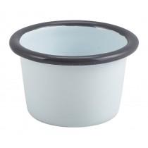 Berties Enamel Ramekin White with Grey Rim 7cm Diameter 9cl-3.2oz