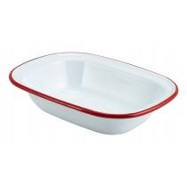 Berties Enamel Pie Dish White with Red Rim 20x15cm