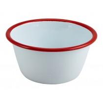 Berties Enamel Deep Pie Dish White with Red Rim 12cm Diameter
