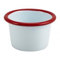 Berties Enamel Ramekin White with Red Rim 7cm Diameter 9cl-3.2oz