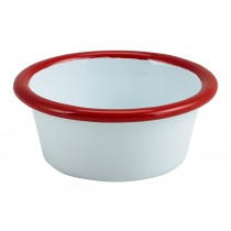 Berties Enamel Ramekin White with Red Rim 8cm Diameter 9cl-3.2oz
