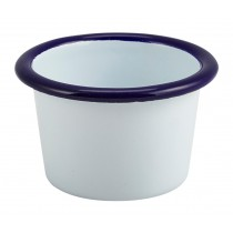 Berties Enamel Ramekin White with Blue Rim 7cm Diameter 9cl-3.2oz