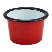 Berties Enamel Ramekin Red with Black Rim 7cm Diameter 9cl-3.2oz