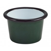 Berties Enamel Ramekin Green with Black Rim 7cm Diameter 9cl-3.2oz