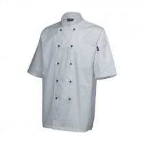 "Genware Superior Chef Jacket Short Sleeve White XS 32""-34"""