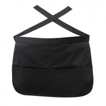 Genware Short Apron with Money Pocket Black 44cm x 29cm