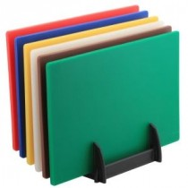 Genware Low Density Chopping Board Set 375x225x12.5mm and Rack
