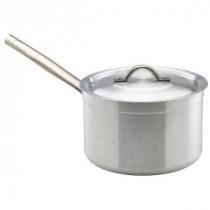 Genware Aluminium Medium Duty Saucepan and Lid 18cm, 3L