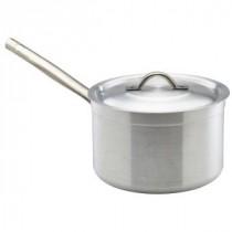 Genware Aluminium Medium Duty Saucepan and Lid 22cm, 5.5L