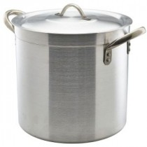 Genware Aluminium Medium Duty Deep Stockpot and Lid 30cm, 21L