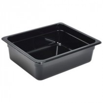 Genware Polycarbonate Black Gastronorm 1-2 100mm deep