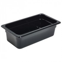 Genware Polycarbonate Black Gastronorm 1-3 100mm deep
