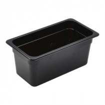 Genware Polycarbonate Black Gastronorm 1-3 150mm deep