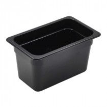 Genware Polycarbonate Black Gastronorm 1-4 150mm deep