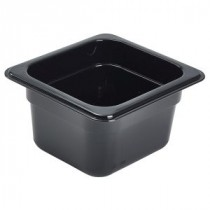 Genware Polycarbonate Black Gastronorm 1-6 100mm deep