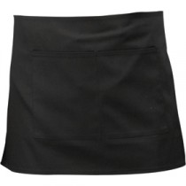 Genware Short Apron Black 70cm x 37cm