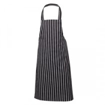 Genware Bib Apron Butchers Stripe Blue and White 70cm x 100cm