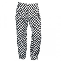 """Genware Chef Baggies Large Check Trousers Black Check XXL 46""""-48"""" Waist"""
