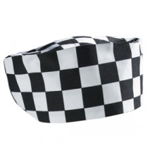 Genware Big Check Chef Beanie Black and White