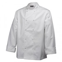 "Genware Basic Stud Chef Jacket Long Sleeve White XS 32""-34"""