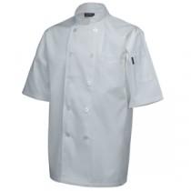 "Genware Standard Chef Jacket Short Sleeve White  XS 32""-34"""