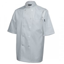 "Genware Standard Chef Jacket Short Sleeve White XXL 52""-54"""
