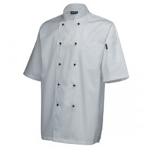 "Genware Superior Chef Jacket Short Sleeve White L 44""-46"""