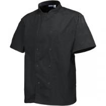"Genware Basic Stud Chef Jacket Short Sleeve Black XXL 52""-54"""