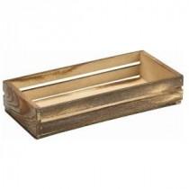 Genware Wooden Crate Dark Rustic 25x12x5cm