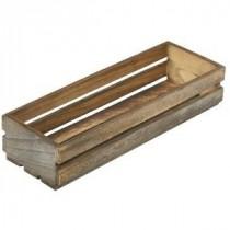 Genware Wooden Crate Dark Rustic 34x12x7cm