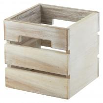 Genware Acacia Wood Box/Riser White 15x15x15cm