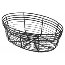Genware Black Wire Basket Oval 25.5x16x8cm