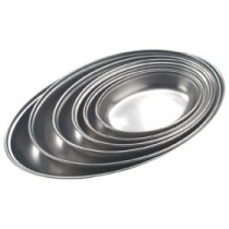 Genware Stainless Steel Oval Vegetable Dish 200mm