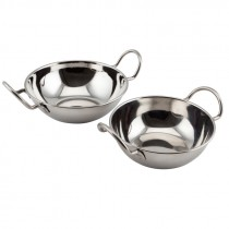 Genware Stainless Steel Balti Dish with Handles 13cm Diameter