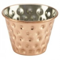 Genware Copper Plated Ramekin Hammered 7cl-2.5oz