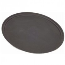 Genware Heavy Duty Oval Fibreglass Tread Tray Black 585x787m