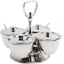 Genware Stainless Steel Relish Server 4 Bowl