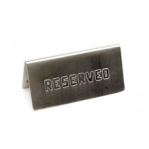 Genware Stainless Steel Table Reserved Sign 120x60mm