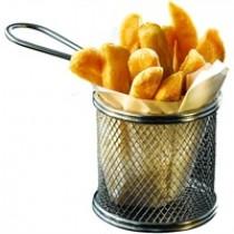 Genware Stainless Steel Round Serving Fry Basket 9.3x9cm