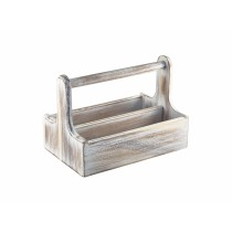 Genware White Wash Acacia Wood Large Table Caddy 25x15.3cm