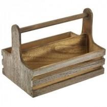 Genware Rustic Wooden Table Caddy 24.5x16.5x18cm