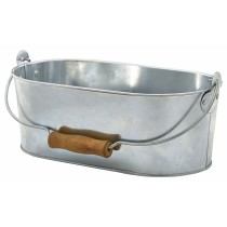 Genware Galvanised Steel Oval Table Caddy 28x15.5x10cm