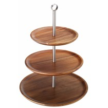 Utopia Acacia Wood Cake Stand/Sharing Platter 3 Tier 30.5/25/21cm