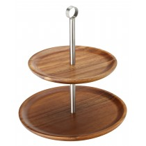 Utopia Acacia Wood Cake Stand/Sharing Platter 2 Tier 25cm/21cm