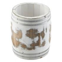 Genware Miniature Wooden Barrel White Wash 11.5x13.5cm