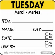 Berties 50mm Tuesday Removable Day Label